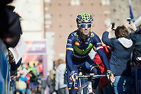 Alejandro Valverde (ESP/Movistar) returning from sign-on<br /> <br /> 107th Milano-Sanremo 2016
