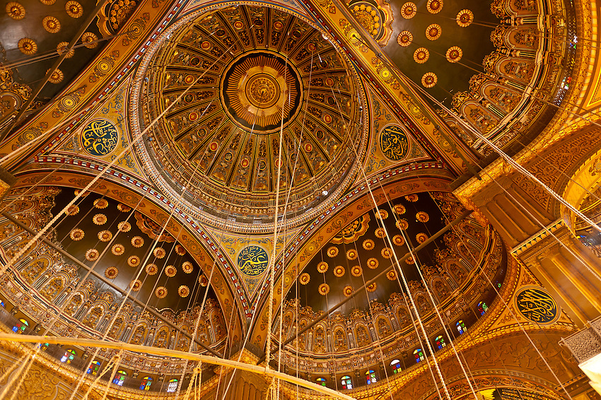 Ceiling of the Mosque of Muhammad Ali, The Citadel, Old Cairo (Islamic Cairo), Cairo, Egypt