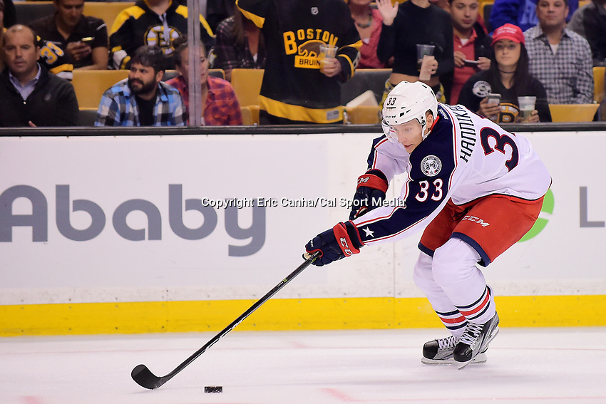 Monday, September 26, 2016: Columbus Blue Jackets left wing Markus Hannikainen (33) in game action during the NHL game between the Columbus Blue Jackets and the Boston Bruins held at TD Garden, in Boston, Massachusetts.  Columbus defeats Boston 3-2 in an overtime shoot out. Eric Canha/CSM
