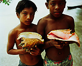 PANAMA, Bocas del Toro, Salt Creek Islands, Guaymi Indian boys hold colorful shells, Central America