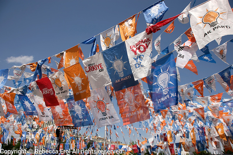 Flags for Turkey's ruling party the AKP in the run-up to the 2011 general elections