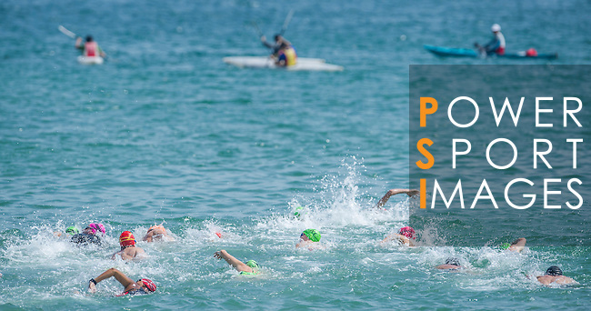 Competitors in action during the Clean Half Extreme Marathon Swim on 12 October 2013 at the Stanley Main Beach in Hong Kong, China. Photo by Victor Fraile / The Power of Sport Images