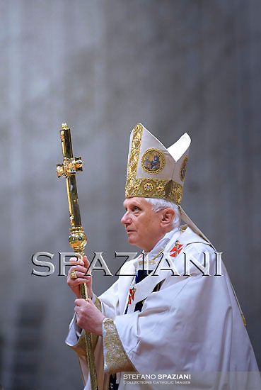 Pope Benedict XVI leads a mass for the Feast of Our Lady of Lourdes and the XVIII World Day of the Sick on February 11, 2010 at St Peter's basilica at The Vatican