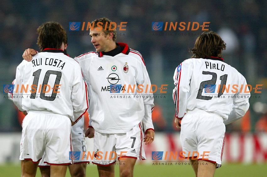 Roma 6/1/2004 Roma - Milan 1-2<br /> Andriy Shevchenko (Milan)  celebrates his second goal with Andrea Pirlo and Manuel Rui Costa<br /> Photo Andrea Staccioli / Insidefoto