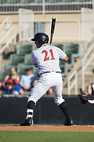 Seby Zavala (21) of the Kannapolis Intimidators at bat against the Lakewood BlueClaws at Kannapolis Intimidators Stadium on April 9, 2017 in Kannapolis, North Carolina.  The BlueClaws defeated the Intimidators 7-1.  (Brian Westerholt/Four Seam Images)