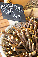 Spice seller at a market. Licorice liquorice root. Collioure. Roussillon. France. Europe.
