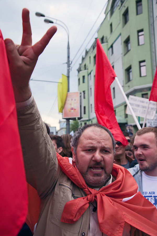 Moscow, Russia, 06/05/2012..Opposition demonstration against Russian Presidential election results on the eve of Vladimir Putins inauguration as President.