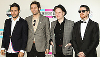 LOS ANGELES, CA - NOVEMBER 24: Pete Wentz, Joe Trohman, Patrick Stump, Andy Hurley of Fall Out Boy arriving at the 2013 American Music Awards held at Nokia Theatre L.A. Live on November 24, 2013 in Los Angeles, California. (Photo by Celebrity Monitor)