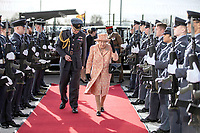 03/02/2020 - Queen Elizabeth II is escorted past an RAF guard of honour as she arrives at RAF Marham with Station commander Group captain James Beck to inspect the new integrated training centre that trains personnel on the maintenance of the new RAF F-35B Lightning II strike aircraft. Marham, Norfolk. Photo Credit: ALPR/AdMedia