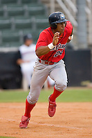 Anthony Gose #24 of the Lakewood BlueClaws hustles down the first base line versus the Kannapolis Intimidators at Fieldcrest Cannon Stadium July 8, 2009 in Kannapolis, North Carolina. (Photo by Brian Westerholt / Four Seam Images)