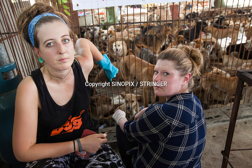Scottish vegan activist Jess Henderson and English activist Helen Reed are seen at a dog slaughterhouse in Yulin during the Yulin Dog Meat Festival, Yulin, Guangxi Province, China, 21 June 2016.<br /> <br /> Photo by STR / Sinopix
