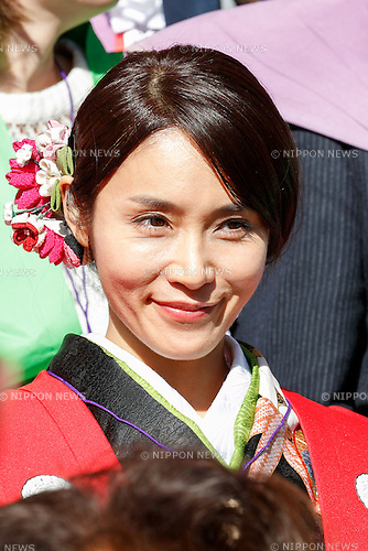 Japanese actress Sayaka Yamaguchi, attends the Setsubun festival at Naritasan Shinshoji Temple on February 3, 2017, in Chiba, Japan. Setsubun is an annual festival celebrated on February 3rd marking the day before the beginning of Spring. Japanese families throw soybeans out of the house to ward off evil spirits and into the house to invite good fortune. Japanese actors and sumo wrestlers are invited to participate in the ceremony at Naritasan Shinshoji Temple which holds one of the biggest events in Japan. (Photo by Rodrigo Reyes Marin/AFLO)