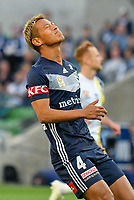 Melbourne, 11 November 2018 &ndash; Keisuke Honda of Melbourne Victory<br /> reacts after missing a shot on goal in the round four match of the A-League between Melbourne Victory and Central Coast Mariners at AAMI Park, Melbourne, Australia.
