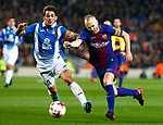 25th September 2018, Camp Nou, Barcelona, Spain; Copa del Rey football, quarter final, second leg, Barcelona versus Espanyol; Andres Iniesta scape from Victor Sanchez