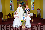 Scoil Caitlín Naofa, Cill Mhic a' Domhnaigh, pupils Mollaidh Ní Bheolain - Saibhís and Róisín Ní Shé the day of their First Communion, pictured with their muinteoir Eilín Uí Lúing and fr. Joe Begley, at Caitlín Naofa Church, Ventry, on Sunday morning.