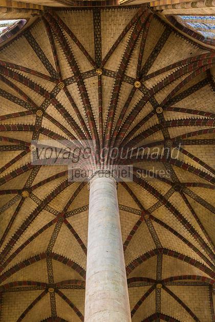 France, Haute-Garonne (31), Toulouse, église du couvent des Jacobins, intérieur, vue verticale du plafond de la nef principale //  France, Haute Garonne, Toulouse, Convent of Jacobins, inside, vertical view of the ceiling of the nave