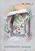 Interlitho, CHRISTMAS SANTA, SNOWMAN, nostalgic, paintings, portal, house(KL5052/3,#X#) Weihnachten, nostalgisch, Navidad, nostálgico, illustrations, pinturas