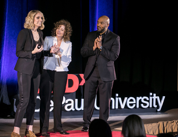 """Humor researchers Karen Bartuck, Tammy Higgins and Brandon Hendrix, left to right, present their joint talk """"Funny Business"""" at TEDxDePaulUniversity, Tuesday, May 1, 2018, in the Lincoln Park Student Center. TEDxDePaulUniversity is an independently run, self-organized event. Through the theme """"Reimagine,"""" 11 diverse presenters provoked stimulating conversation on powerful topics that invited the audience to consider questions and subjects in a new light. (DePaul University/Jamie Moncrief)"""