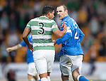 St Johnstone v Celtic...13.08.14  SPFL<br /> Dave Mackay has words with Emilio Izaguirre after an alleged elbow<br /> Picture by Graeme Hart.<br /> Copyright Perthshire Picture Agency<br /> Tel: 01738 623350  Mobile: 07990 594431