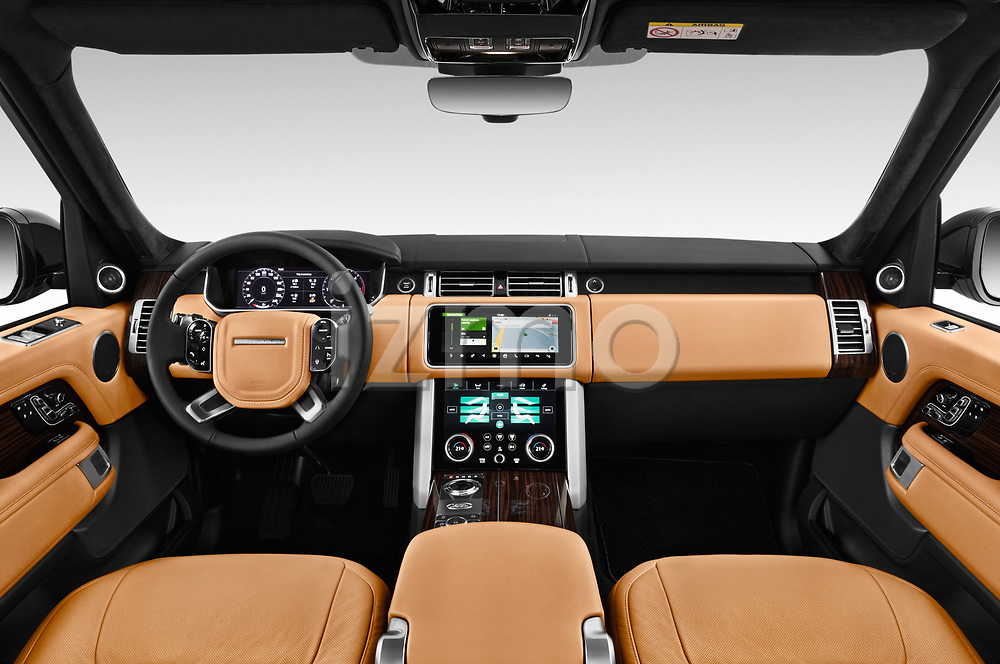Stock photo of straight dashboard view of a 2018 Land Rover Range Rover Autobiography Select Doors Door SUV