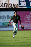 Dayton Dragons outfielder Mariel Bautista (17) catches a fly ball during a Midwest League game against the Kane County Cougars on July 20, 2019 at Northwestern Medicine Field in Geneva, Illinois.  Dayton defeated Kane County 1-0.  (Mike Janes/Four Seam Images)