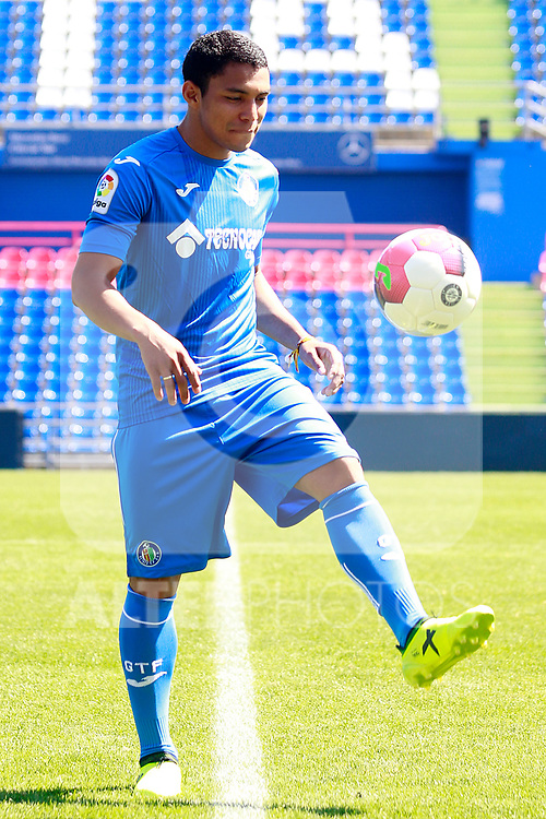 Getafe CF's new player Jefferson Montero during his official presentation.  September 5, 2017. (ALTERPHOTOS/Acero)