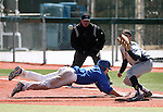 Western Nevada College's Joey Crunkilton dives safely back to first during a game against the College of Southern Nevada at John L. Harvey field, on Sunday, April 27, 2014, in Carson City, Nev.<br /> Photo by Cathleen Allison/Nevada Photo Source