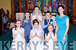 pupils of Anablath NS wit their teacher Charolette Bartlett at their First Holy Communion in Our Lady of Lourdes church on Saturday front row l-r: Abbie Ryan, Laoise McCarthy, Rebecca O'Sullivan. Back row: TJ  Crowley, Shona O'Brien, Mark McSharry