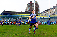 Alex Davies and the rest of the Bath United team run onto the field. Premiership Rugby Shield match, between Bath United and Gloucester United on April 8, 2019 at the Recreation Ground in Bath, England. Photo by: Patrick Khachfe / Onside Images