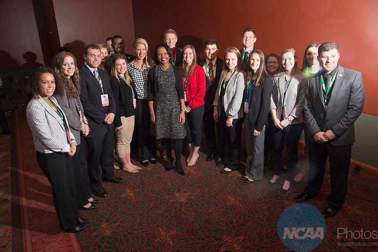 14 JAN 2016:  Condoleezza Rice visits the Division I, II, III SAAC's during the 2016 NCAA Convention held at the Grand Hyatt San Antonio in San Antonio, TX.   Jamie Schwaberow/NCAA Photos