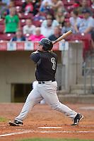 Kane County Cougars first baseman Dan Vogelbach #3 hits a home run during a game against the Cedar Rapids Kernels at Veterans Memorial Stadium on June 8, 2013 in Cedar Rapids, Iowa. (Brace Hemmelgarn/Four Seam Images)