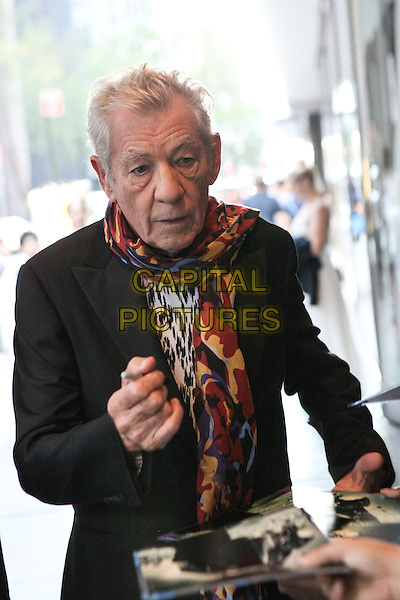 NEW YORK, NY - JULY 13: Ian McKellen arrives to the 'Mr. Holmes' New York premiere at MoMA on July 13, 2015 in New York City. <br /> CAP/MPI/COR<br /> &copy;COR/MPI/Capital Pictures