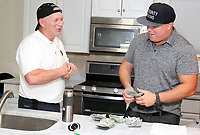 LINDEN, NJ - AUGUST 9 :  Lenny Dykstra pictured with Celebrity Boxing promoter Damon Feldman at Dykstra'a home in Linden, NJ,   signing the contract to fight The Bagel Boss guy on September 7, 2019, at Celebrity Boxing 69 at Showboat Hotel in Atlantic City, NJ August 9, 2019  <br /> CAP/MPI09<br /> ©MPI09/Capital Pictures