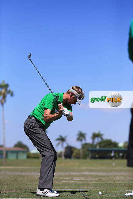 David Lynn (ENG) on the range during practice at the WGC Cadillac championship at Doral Golf Resort & Spa,Doral, Florida,USA..Picture: Fran Caffrey / www.golffile.ie ..