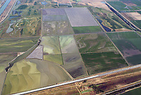 aerial photograph of flooding of the agricultural fields in the Central Valley, California