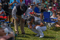 Rafael Cabrera Bello (ESP) looks over his ball that hit a spectator's chair near the green on 6 during round 2 of the Arnold Palmer Invitational at Bay Hill Golf Club, Bay Hill, Florida. 3/8/2019.<br /> Picture: Golffile | Ken Murray<br /> <br /> <br /> All photo usage must carry mandatory copyright credit (&copy; Golffile | Ken Murray)