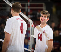 STANFORD, CA - January 5, 2019: Eric Beatty, Kyler Presho at Maples Pavilion. The Stanford Cardinal defeated UC Santa Cruz 25-11, 25-17, 25-15.