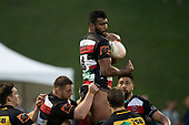 Sikeli Nabou takes the ball from the second half restart. Mitre 10 Cup rugby game between Counties Manukau Steelers and Taranaki Bulls, played at Navigation Homes Stadium, Pukekohe on Saturday August 10th 2019. Taranaki won the game 34 - 29 after leading 29 - 19 at halftime.<br /> Photo by Richard Spranger.