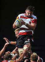 Elliott Stooke of Gloucester Rugby wins the ball at a lineout. West Country Challenge Cup match, between Gloucester Rugby and Bath Rugby on September 13, 2015 at the Memorial Stadium in Bristol, England. Photo by: Patrick Khachfe / Onside Images