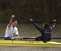 Henley on Thames, Bucks, ENGLAND, Oxford Men's Lightweights stroke Alex Woods [left] and cox Philip Clausen-Thue celebrate victory after winnin the 2006 Race, at the  2006 Henley races, 01.04.2006.  © Peter Spurrier/Intersport-images.com. 2006 Henley Boat Races, Rowing Courses, Henley Reach, Henley, ENGLAND
