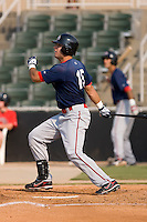 David Marks (15) of the Greenville Drive follows through on a 2-run home run at Fieldcrest Cannon Stadium in Kannapolis, NC, Sunday August 10, 2008. (Photo by Brian Westerholt / Four Seam Images)