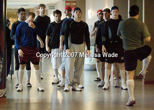The Miami University Redhawks work on out on the concourse at the Verizon Wireless Arena before the 2007 NCAA Northeast Regional Final on Sunday, March 25, 2007 in Manchester, New Hampshire.