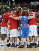 GB Team Huddle during the EuroBasket 2015 2nd Qualifying Round Great Britain v Bosnia & Herzegovina (Euro Basket 2nd Qualifying Round) at Copper Box Arena in London. - 13/08/2014