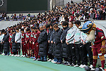 Vissel Kobe Fans (Vissel), MARCH 19, 2011 - Football : 2011 Players and fans observe a moment of silence for the victims of the 2011 Tohoku earthquake & tsunami before a J.League Practice match between Vissel Kobe 3-0 Gainare Tottori at Home's Stadium Kobe in Hyogo, Japan. The JLeague season was suspended after the earthquake struck on March 11th and many teams are now organising fund raising events. (Photo by Akihiro Sugimoto/AFLO SPORT) [1080].
