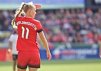Portland, Oregon - Sunday October 2, 2016: Portland Thorns FC midfielder Dagny Brynjarsdottir (11) during a semi final match of the National Women's Soccer League (NWSL) at Providence Park.