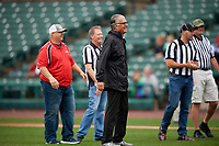 Mike Pereira of Battlefields to Ballfields throws out the ceremonial first pitch before a Rochester Red Wings International League game against the Charlotte Knights on June 16, 2019 at Frontier Field in Rochester, New York.  Rochester defeated Charlotte 11-5 in the first game of a doubleheader that was a continuation of a game postponed the day prior due to inclement weather.  (Mike Janes/Four Seam Images)