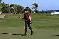 Sebastian Heisele (GER) on the 14th green during Round 3 of the Challenge Tour Grand Final 2019 at Club de Golf Alcanada, Port d'Alcúdia, Mallorca, Spain on Saturday 9th November 2019.<br /> Picture:  Thos Caffrey / Golffile<br /> <br /> All photo usage must carry mandatory copyright credit (© Golffile | Thos Caffrey)