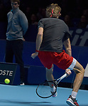 London UK 12th November 2018 Nitto ATP World Tour Finals at 02 Arena London UK Alexander Zverev GER Vs Marin Cilic CRO. Zverev hits a shot between his legs during the match