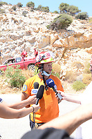 Pictured: A member of the search party speaks to the media near the scene in Ikaria, Greece. Thursday 08 August 2019<br /> Re: Rescuers searching for  British scientist Natalie Christopher, 35, who disappeared on the  island of Ikaria, Greece have found her body at the bottom of a ravine.<br /> She was found less than a mile from the hotel in the Kerame area where she was on holiday with her Cypriot partner.<br /> Emergency service staff said that a large rock had dislodged as she fell, causing multiple head injuries.<br /> The woman's body will be kept overnight at the spot so a coroner can examine it on Thursday morning.