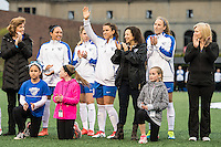 Allston, MA - Saturday, May 07, 2016: Boston Breakers forward Stephanie McCaffrey (9) waives to the crowd during player introductions at a regular season National Women's Soccer League (NWSL) match at Jordan Field.